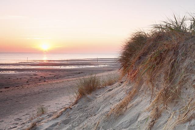 Sonnenaufgang am Wattenmeer bei Niedrigstand, Texel, Holland