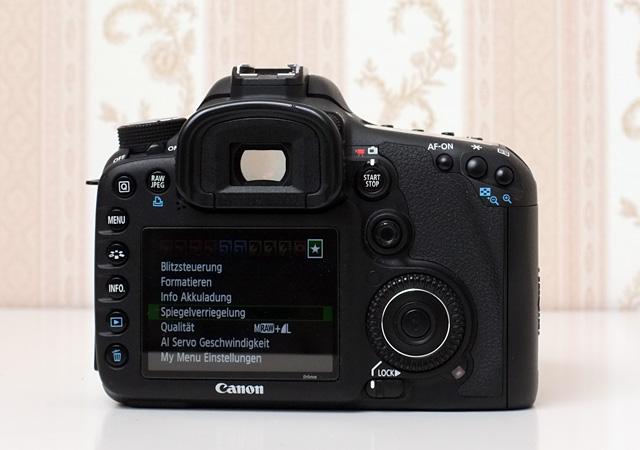 Spiegelvorauslösung im Kameramenü