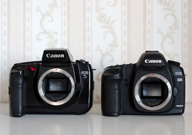 Analoge und digitale Canon EOS 5 SLR Spiegelreflexkamera