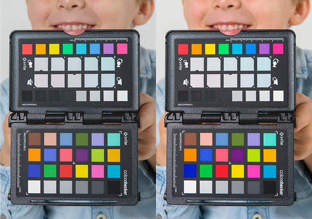 Vergleichsaufnahmen mit und ohne Colorchecker Kamera kalibrieren