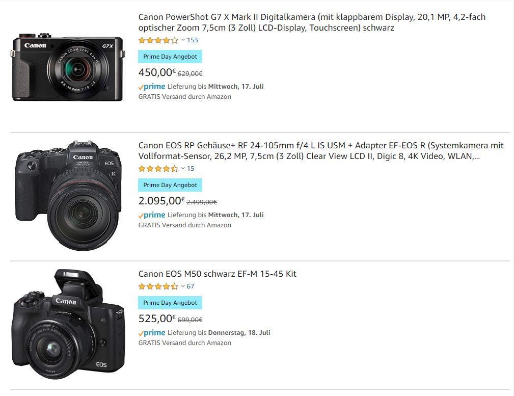 Canon Kameras günstig zu kaufen bei den Amazon Prime days (Bilduelle: Amazon)*