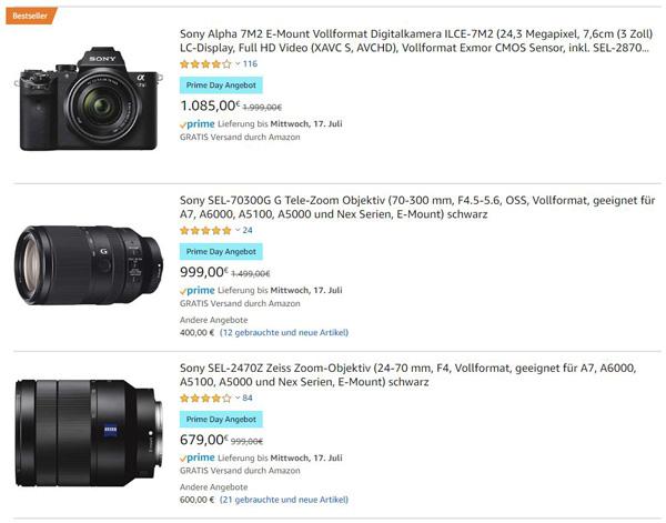 Amazon Prime Days 2019 - Sony Kamera und Objektive Schnäppchen Angebote